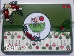 handmade altered tin, Hobby House Topper and Flowers Christmas Paper, Christmas Images, Christmas Cards, Hobby House, Mo Manning, House Of Cards, Penny Black, Digi Stamps, Anniversary Cards