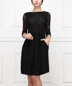 love a dress with pockets // Black Lace Fit & Flare Dress