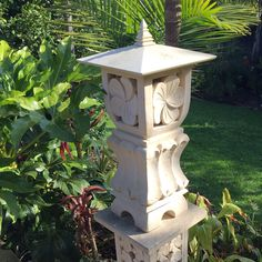 Limestone Garden Lantern Japanese Garden Lanterns, Bali Huts, Balinese Garden, Stone Lantern, Home Decor Mirrors, Cast Stone, Garden Features, Tropical Decor, Headboards For Beds