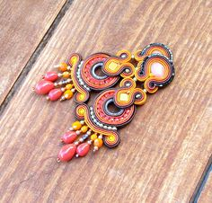 Long Clip-On Earrings, Chandelier Earrings, Soutache Earrings, Orange Earrings… Orange Earrings, Black Earrings, Diy Earrings, Chandelier Earrings, Clip On Earrings, Soutache Bracelet, Soutache Jewelry, Handmade Bracelets, Earrings Handmade