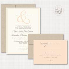 Modern + Traditional Blush Wedding Invitation Suite   Lace  Lemon Blog #kraftpaper #blushinvites #weddingstationery
