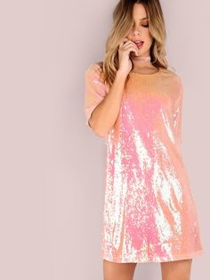 Waltz in to your next holiday party with this effortless Short Sleeve Sequin T-Shirt Dress! Features a classic round neck with short sleeves and a sequin upper. Style with a pair of lace-up ankle booties and an edgy choker to complete the look. Sequin T Shirt Dress, Rose Gold Sequin Dress, Tee Dress, Pink Dress, Chic Outfits, Dress Outfits, Casual Dresses, Fashion Dresses, Women's Fashion