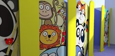 Eden 'Hippo' Children toilet cubicles Material - High Pressure Laminate (HPL) Colour - Yellow and Blue