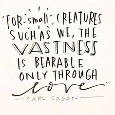 For such small creatures such as we, the vastness is bearable only through love. ~ Carl Sagan quote