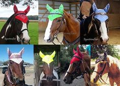 Horse Fly Bonnet Bandanas! Many colors, patterns, and styles available! Great for parades, fun shows, trail rides! Find us at facebook.com/equestrianflair or Etsy/equestrianflair