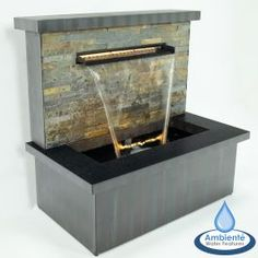 Zinc and Stone Sorrento Trough Blade Cascade Water Feature with Lights by Ambienté™ Stone Water Features, Indoor Water Features, Small Water Features, Water Features In The Garden, Outdoor Wall Fountains, Small Fountains, Outdoor Walls, Indoor Outdoor, Garden Fountains