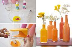 Pinta tus botellas de vidrio y vuélvelas hermosos adornos. Encuentra más ideas en http://www.1001consejos.com/
