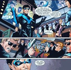 """ written by Frank Tieri art by Jim Calafiore, Jack Purcell, & Brian Reber Batwoman, Batgirl, Comic Movies, Comic Books, Dick Grayson Batman, Nightwing And Starfire, Richard Grayson, My Superhero, Jack Purcell"