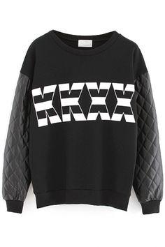 Black KKXX Pattern Paneled Sweatshirt