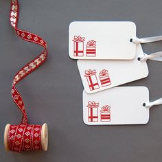 Holiday Letterpress Gift Tags, $4.50 / 6