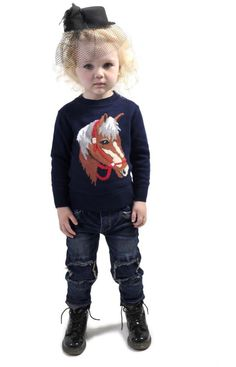 Equestrian Sweater and Zeppelin jeans | Rock Your Kid winter 2014 | www.rockyourbaby.com