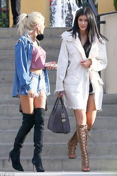 Kylie Jenner opts for two outfits for lunch in LA with boyfriend Tyga #dailymail