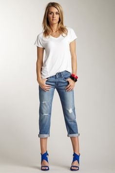 AG Ex-Boyfriend Cropped Jean. Love this whole look...the shoes, the bracelets. ALL OF IT.