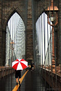 I am from Brooklyn, New York. This is the Brooklyn Bridge. Miss April from Brooklyn crossing the bridge in April. Ponte Do Brooklyn, Brooklyn Bridge New York, Brooklyn Nyc, Oh The Places You'll Go, Places To Travel, Travel Things, Travel Stuff, Parasols, Umbrellas