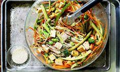 Cold Brown Rice Noodle Sesame Salad