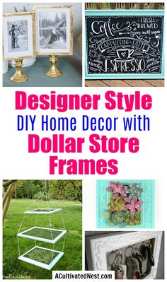 Designer Style DIY Home Decor with Dollar Store Frames- Take a look at all of these pretty decor DIYs made with dollar store frames! They're very inexpensive to make, and easy to put together! | dollar store decor DIY projects, dollar store crafts, upcycle old frames, #dollarTree #DIY #decor #dollarStore #AcultivatedNest Frame Crafts, Diy Frame, Diy Crafts, Dollar Store Crafts, Dollar Stores, Cute Desk Organization, Organizing Ideas, Diy Earring Holder, Diy Home Decor For Apartments