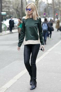 A rich green hue played brilliantly off slick black. (Street Style at Paris Fashion Week Fall 2013)