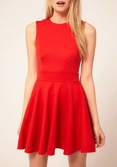 Red Hollow-out Sleeveless Mini Cotton Blend Dress___similar to a dress I already have!