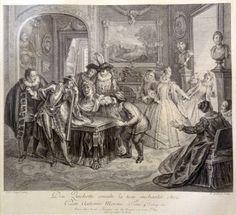 Don Quichotte consulte la teste enchantée chez Don Antonio Mereno. Tom 4. chap.62. - Gravé par F. Joullain - MAS Estampes Anciennes - Antique Prints