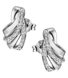 Ohrstecker 925 Sterling Silber mattiert 46 Zirkonia Ohrringe Silberohrringe Cufflinks, Wedding Rings, Engagement Rings, Accessories, Jewelry, Sterlingsilber, Indian, Jewerly, Ear Jewelry