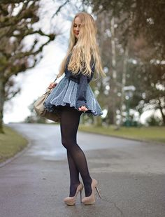 cute mini skirt nude heels outfit by @Tiphaine Pittet  Get many more inspirations of that look here: http://www.stylight.de/tiphainesdiary/Boards/Ballerina-133421/# #style #fashion