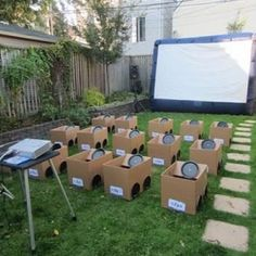 "How cute:) Backyard Drive-In Movie, outdoor party! They could even decorate their own ""cars."" - tomorrows adventures"