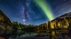 Gorgeous Glow! Green Aurora Shines Over Glimmering Lake-Milky Way and Aurora from Banff National Park