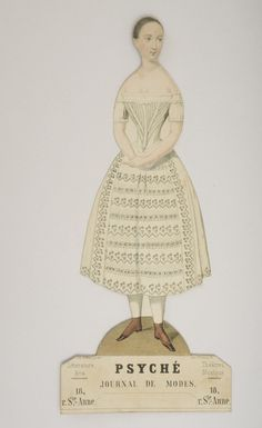 """An Antique French Paper Doll """"Psyche"""" from Journal des Modes with dresses, Paris, c.1840"""