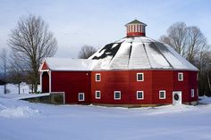 round barn at Christmas