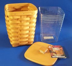 Longaberger Medium Spoon Basket Woodcrafts Lid Plastic Protector  11169  #Longaberger