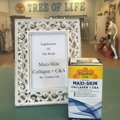 "Supplement of the Week ""MAXI-SKIN Collagen+ C&A"" by:  Country Life. Enhances elasticity, increases collagen by 60% and reduces depth of wrinkles @ Tree of Life Supplements, Gifts & More  #countrylife  treeoflifesgm@yahoo.com"