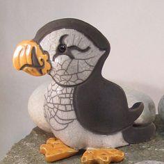 Raku Pottery Clay Puffin ceramic animal pottery by WildfirePotter, $26.00