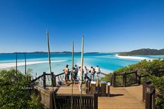 Tourists at Hill Inlet Lookout on Whitsunday Island