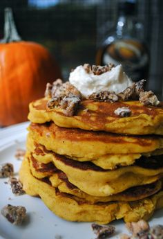 Virtually Homemade: Pumpkin Pancakes with Maple Cream and Candied Vanilla Pecans