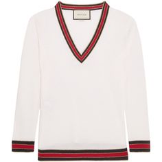 Gucci Striped wool sweater ($540) ❤ liked on Polyvore featuring tops, sweaters, gucci, ivory, sport top, striped sweater, sports sweaters, stripe sweaters and gucci sweater