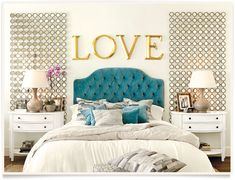 Blue velvet headboard, white bedding, gold accents in this bedroom