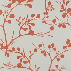 Shop lilt self-adhesive wallpaper.   Leafy branches flourish in a bold botanical design by Chicago-based artist Noël Ashby.  Capturing the liveliness of a tree, graphic silhouettes pop in red/orange on light grey.
