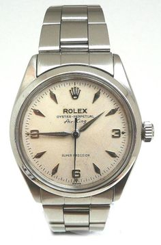 ROLEX EARLY AIRKING AUTOMATIC STAINLESS STEEL CIRCA 1960:  Signature Rolex 'crown', silver hour arabic  markers are beautifully defined and quite rare.