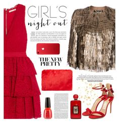 """Girls Night"" by sukia ❤ liked on Polyvore featuring Alice + Olivia, Salvatore Ferragamo, Forever 21, China Glaze and Charlotte Olympia"