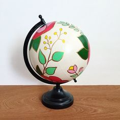 Hand painted globe floral print quote globe by DanielleContiArt