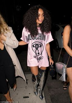 Fashionista: Channelling her inner Barbarella, the Little Mix star kept it stylish in a pa...