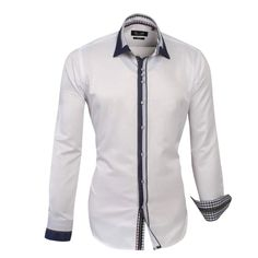 Shop online from our beautifully tailored Farrabi shirts. Triple stitched on placket – Contrast Collar Slim Fit Formal single collar dress shirt white. Check out our online store for more!