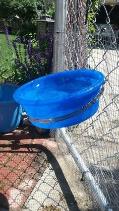 I was looking to attach a bowl for the dog to the chain link fence. I was looking to attach a bowl for the dog to the chain link fence. I tried a device that attaches Dog Kennel Designs, Diy Dog Kennel, Dog Kennels, Kennel Ideas, Outdoor Dog Toys, Outdoor Dog Kennel, Outside Dogs, Dog Yard, Dog Pen