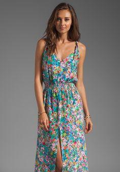Karina Grimaldi Jamaica Print Maxi Dress in Aqua Flowers