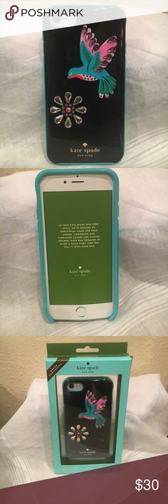 Kate Spade Jeweled humming bird I phone 7 case 🌺Sound of a Beautiful Humming bird . Sooooo. Beautiful & he's all be dazzled   In  Glass stones . Ohhh what a beautiful. Bird Kate Spade Accessories Phone Cases