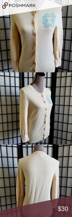 """J. Crew The Clare Cardigan Double Seahorse J. Crew Women's Sz Small The Clare Cardigan Beige With Double Seahorse Design Bust: 20.5"""" Neck to bottom: 23.5"""" Arm (shoulder seam to end of cuff): 21"""" J. Crew Sweaters Cardigans"""