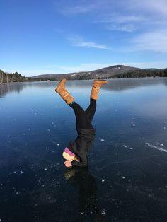 Sarah Wilson - Having fun in the winter sun. - Phillips Lake in Dedham, Maine #mukluk #stegermukluks