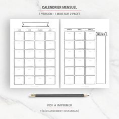 BULLET JOURNAL - Printable - Undated - Monthly calendar, weekly and daily planner, notes pages, to do list. Us Letter, Half size