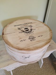 Thrifty Treasures: Beautify a cheese box by painting and adding graphics.