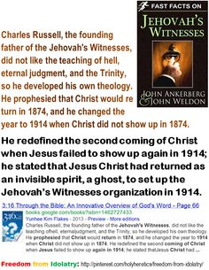 an introduction to the history of charles russell and jehovahs witnesses The origin of jehovah's witnesses  the modern day jehovah's witness organization is officially known as the watchtower bible and tract societyit traces its roots back to a man by the name of charles taze russell.